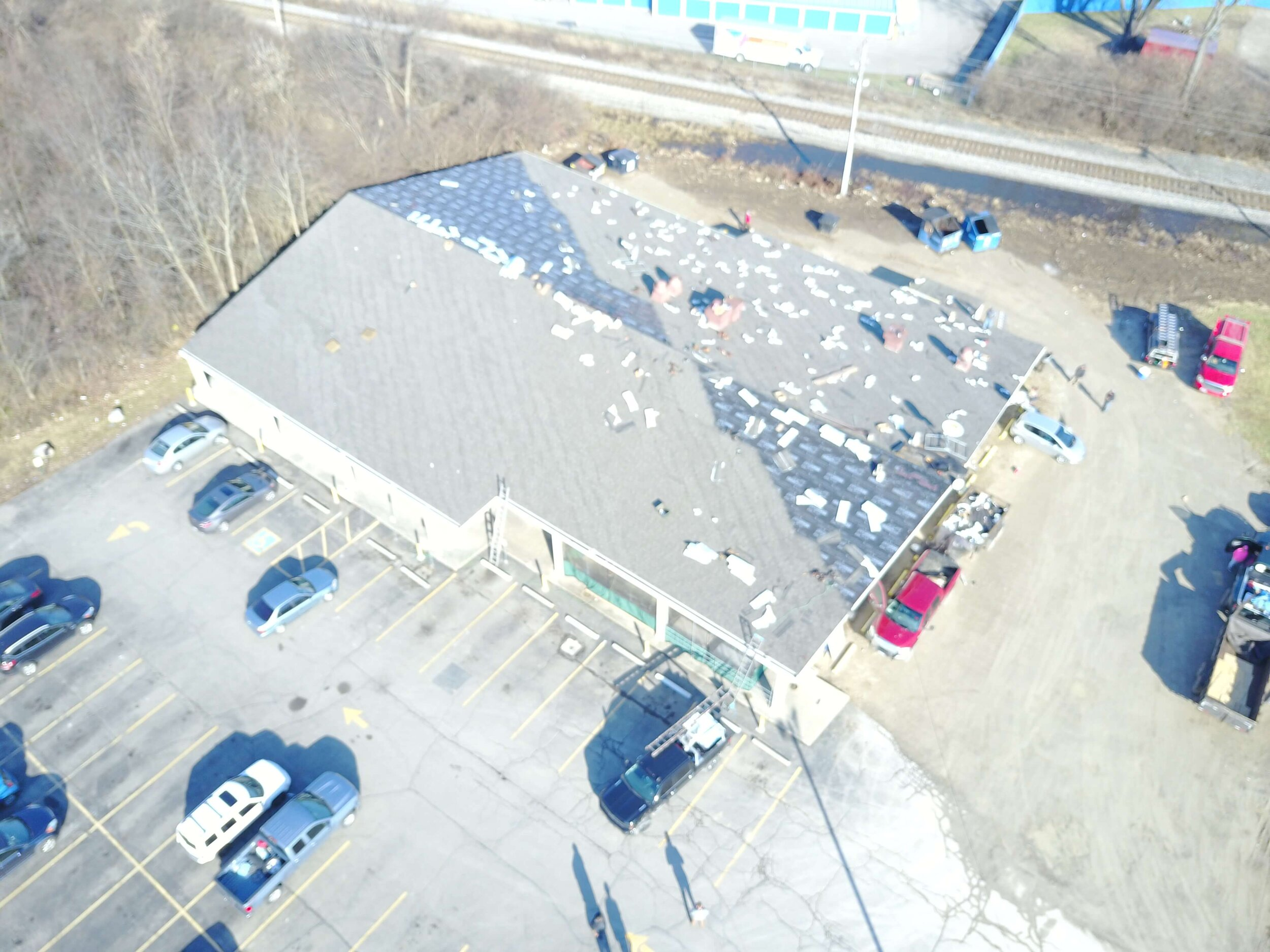 Picture of a rooftop repair from above